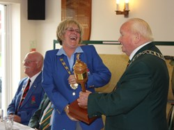 President John Hague presents President Viv with the Woodworm Cup