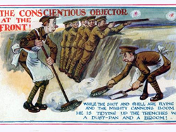 Post card mocking conscientious objectors