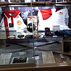 England Bowls Shirts and local Bowls memorabilia looking good in the Display Cabinet at Daventry Museum