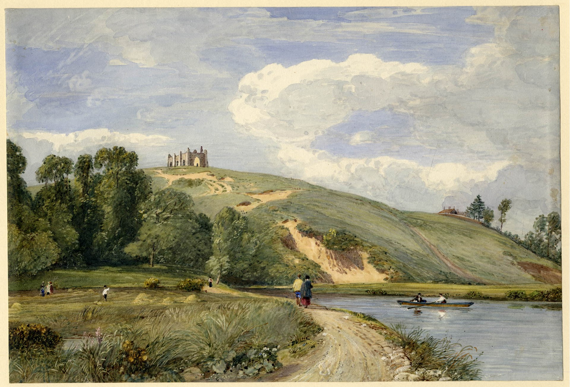 This lovely watercolour of St Catherine's Hill viewed from the meadows is by a rather more obscure artist, Francis Oliver Finch (1802 - 1862), and is reproduced by permission of the British Museum.