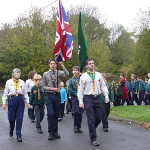 Oakley Scout Group marching to the 2009 service