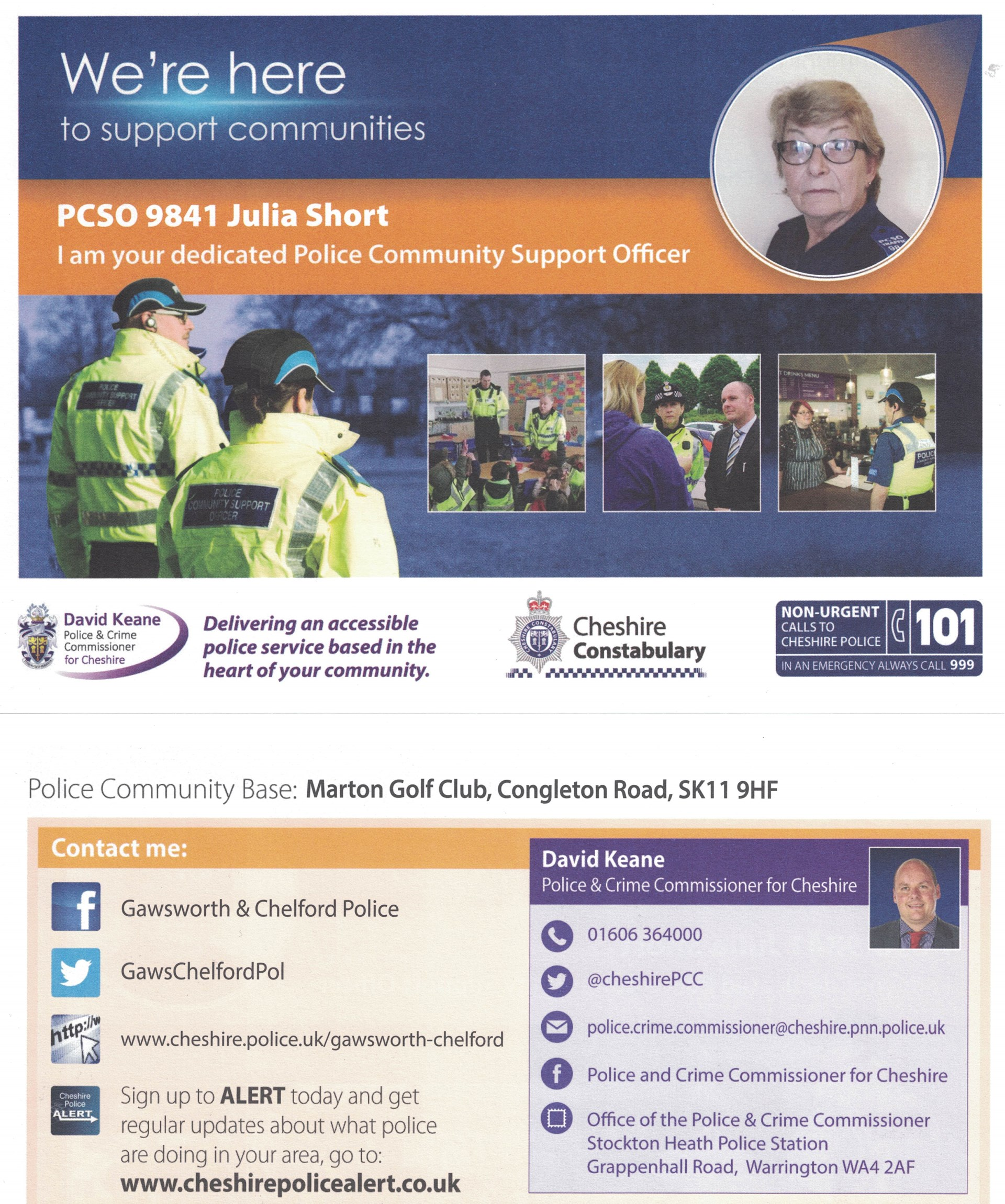 Chelford Parish Council Local Policing Team Contact Details
