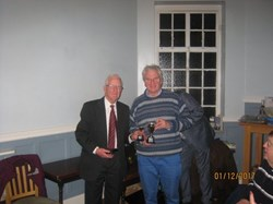 New member Julian Smith receiving his Two Woods Singles Trophy