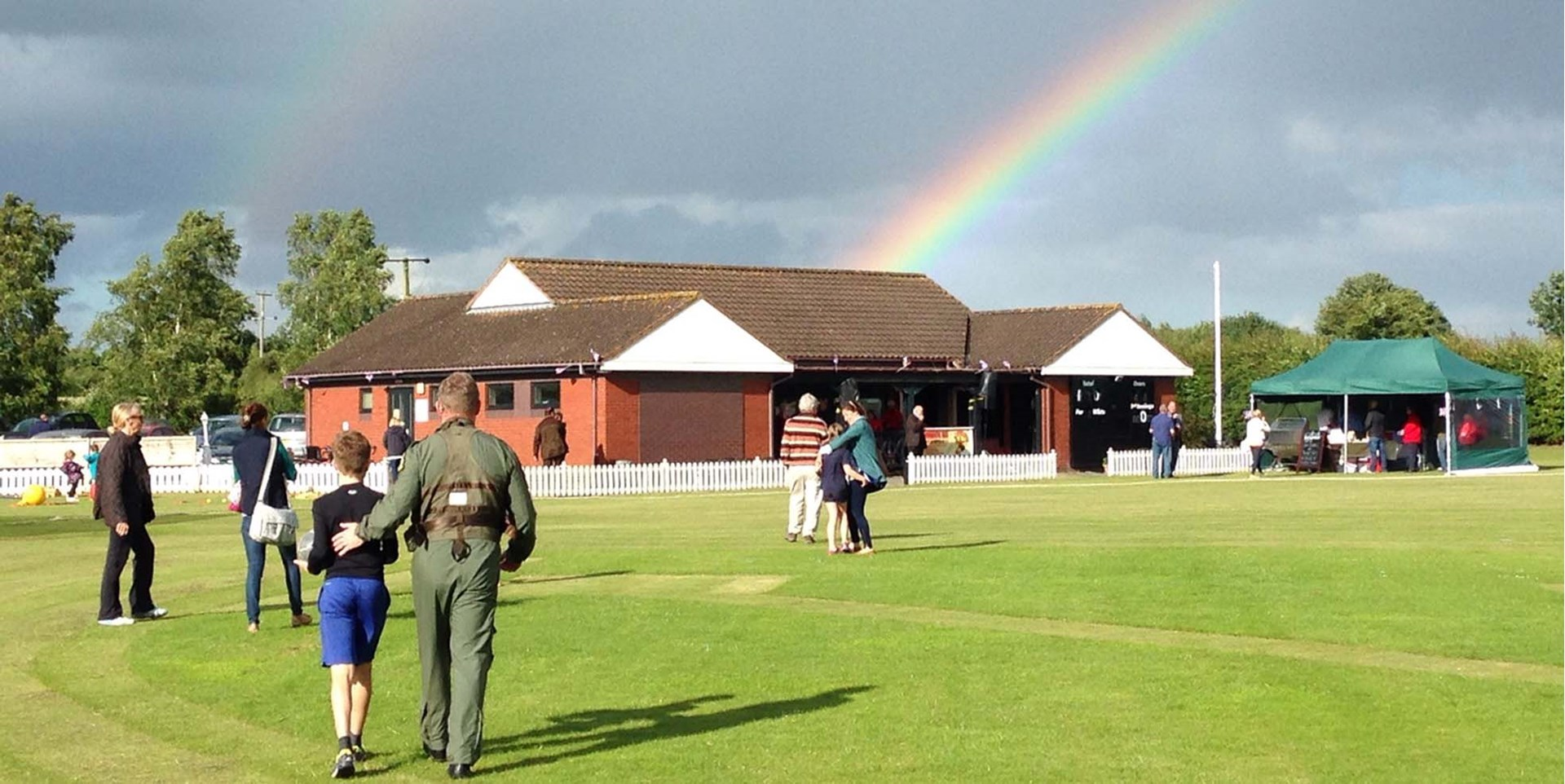 Rainbow over Bomere Heath Cricket Club at the CLP Summer PArty