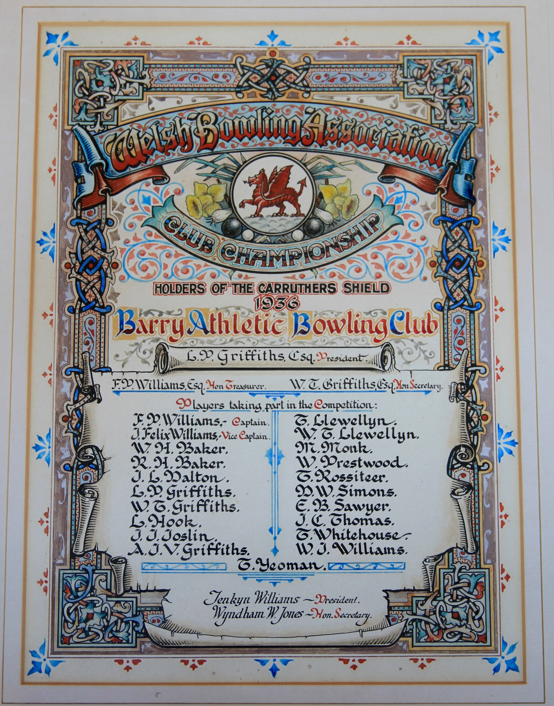 Carruthers Shield Winners 1936