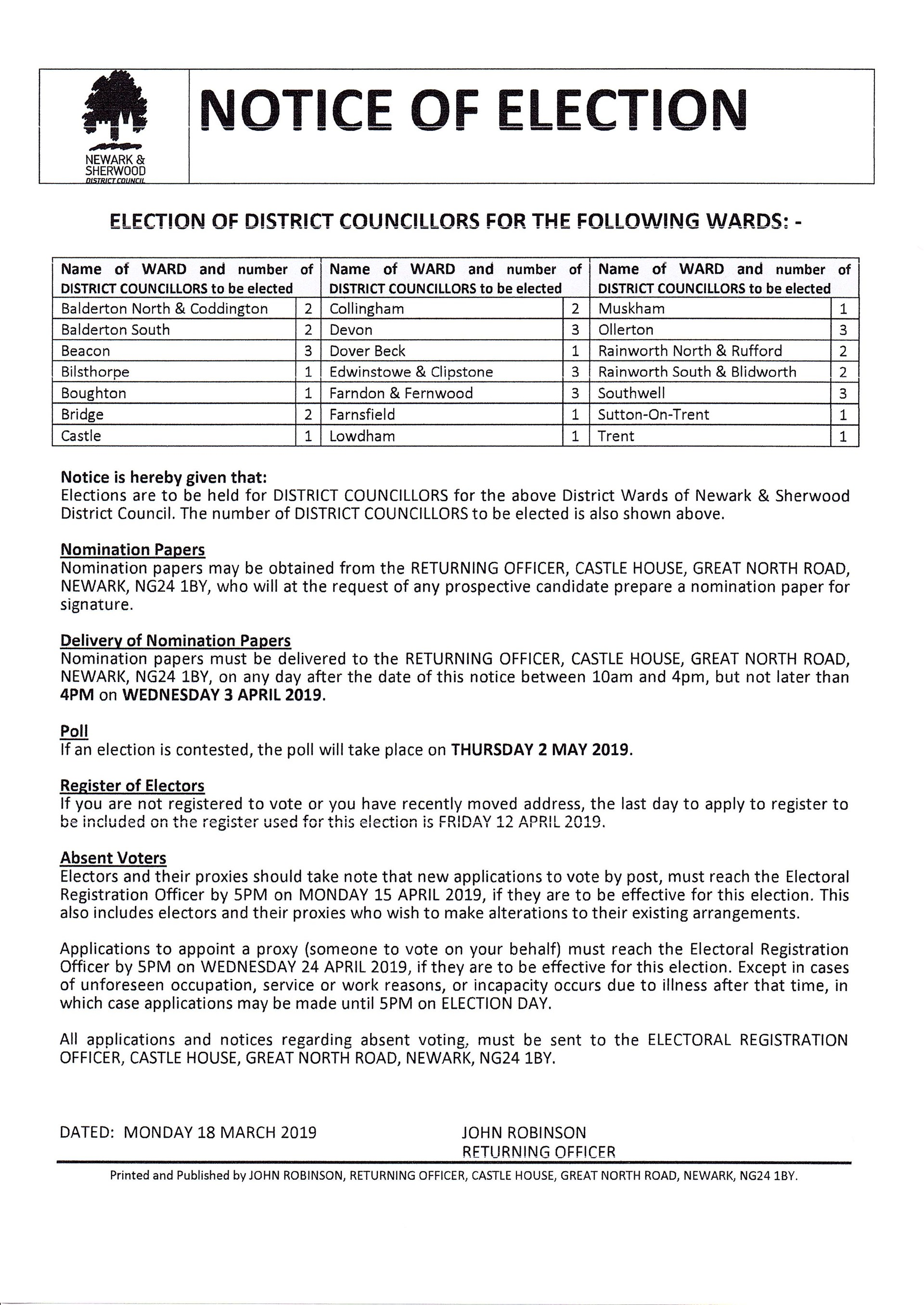 DISTRICT COUNCIL ELECTION NOTICE MAY 2019