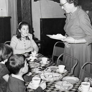 Sunday School Tea in the Village hall. Served by Vi Gordon. Circa 1958
