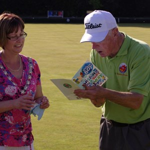 Davenntry Town Council Mayor celebrates 1 year of Bowls Daventry with its Chairman
