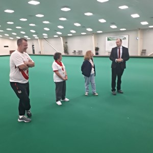 our Town Council Mayor and local MP, talking about the event and what a great facility the Indoor Bowls Club is for Daventry and what a great evening of Bowls they have had with David Bolt