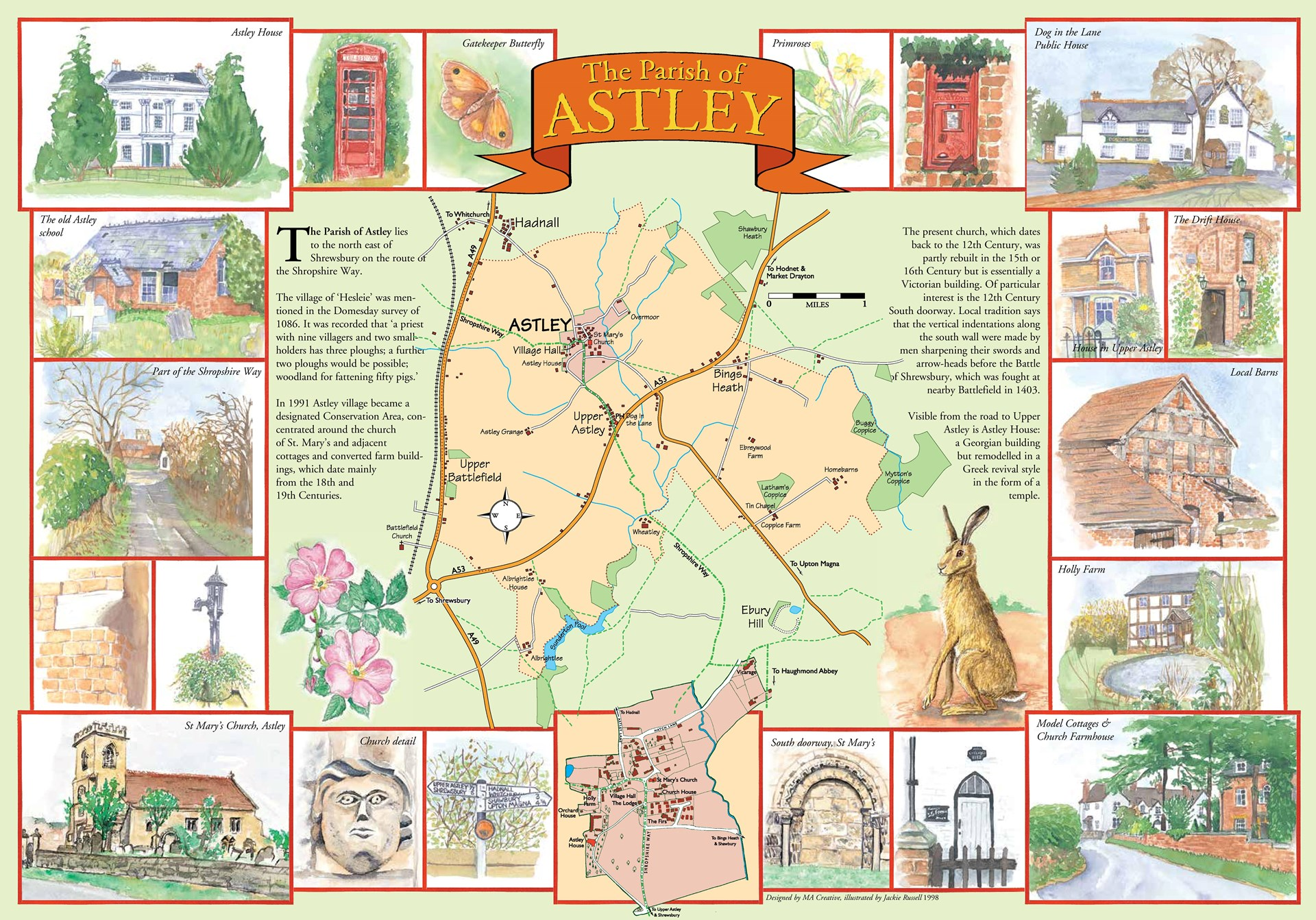 Illustrated map of Astley Parish