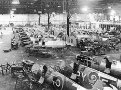Spitfires in AST factory WW2