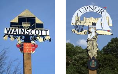 Wainscott (left) and Upnor (right) parish signs