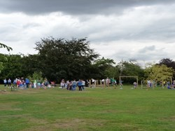 Families at Opening of Play Trail at Southons Field