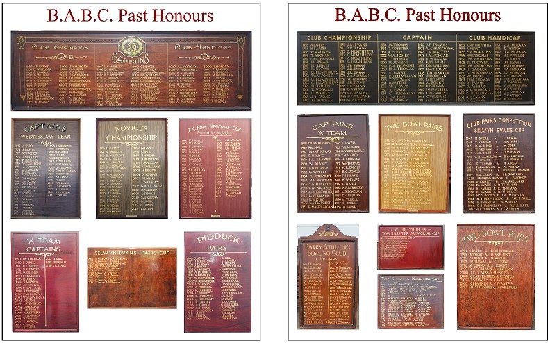 Barry Athletic Bowls Club Club Honours Boards