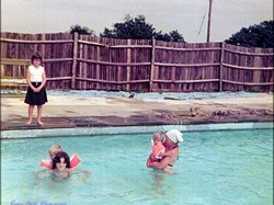 Lynne & Penny Stott with Maria Reed on the side of the pool