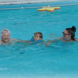 Afternoon swim with Great Grandma