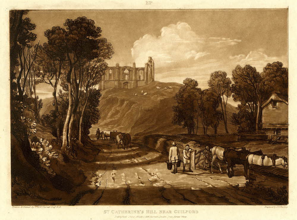 An etching of the hill looking from the south by J M W Turner.