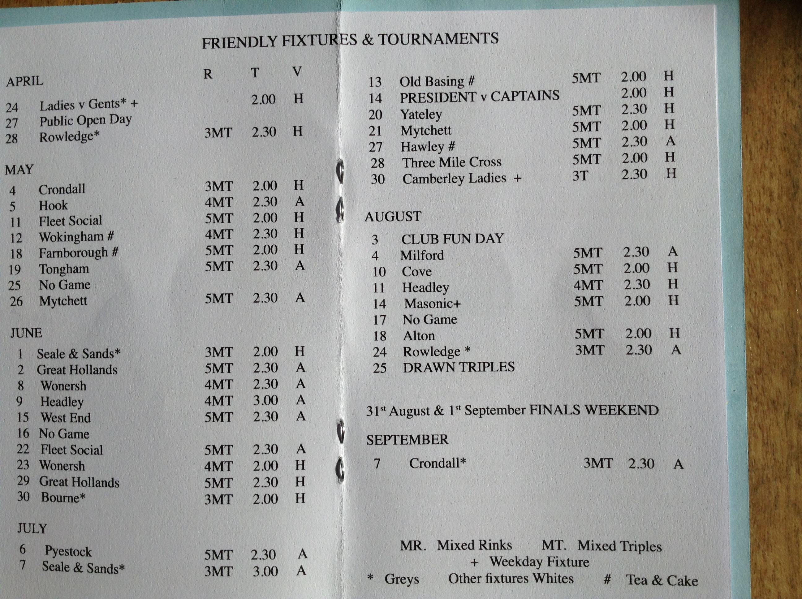Fleet United Bowling Club Club Friendlies