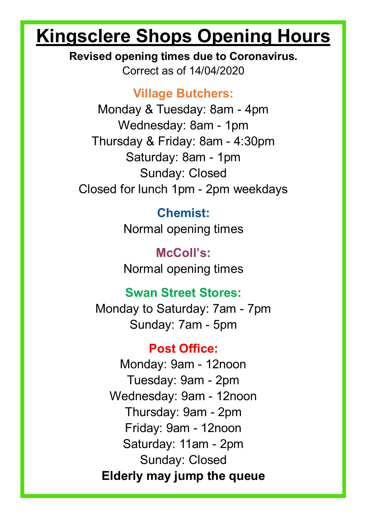Kingsclere Shops Opening Hours