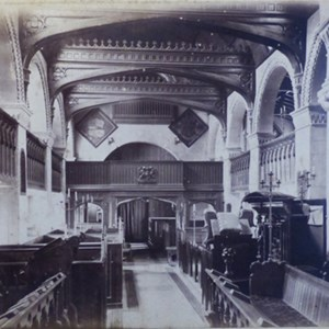 1873. Interior of Mickleham Church looking west. Galleries & old fashioned pews