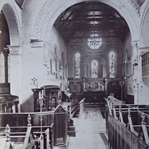 1872. Interior of Mickleham Church showing restoration of the Chancel. Also showing Norbury Pew & the Servant's Pew.