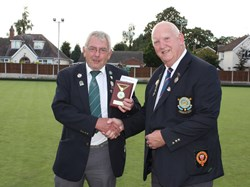 President Ron presents President Alan with a plaque to commemorate their visit.