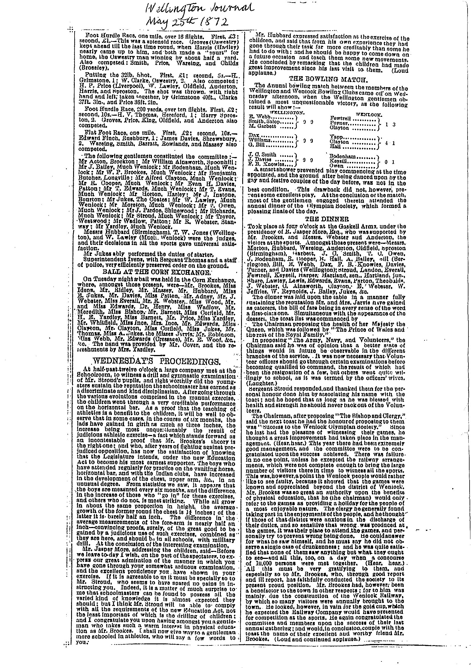 Much Wenlock Bowling Club Wellington Journal - 25th May 1872