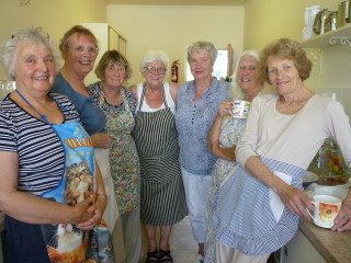 Ladies in kitchen, Jean, Anne, Annette, Marge, Margaret, Marie, Barbara