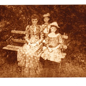 Mrs Mortimore, schoolmistress, with daughters Evelyn and Grace. Mickleham 1891