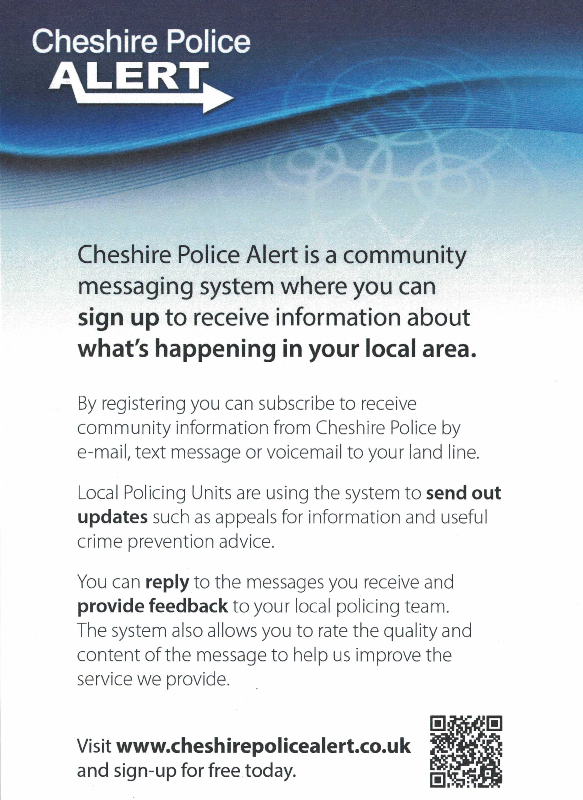 Chelford Parish Council Cheshire Police Alerts