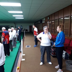We had to take a picture of Sue White, the incredible lady who set up and runs the Disability Bowls at Desborough. Thank you and please continue