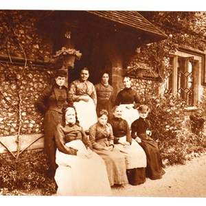Almshouse pensioners Mrs White Miss Dudley Mrs Rogers Mrs Bunce Mrs Worsfold Mrs Creasy Mrs Collinson Miss Clements. Mickleham August 1894.