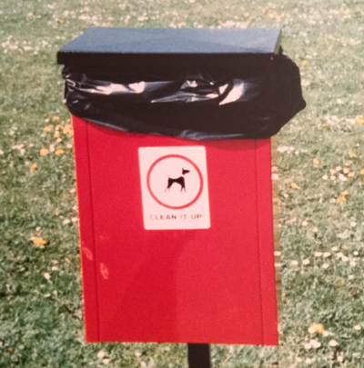 One of the many bins provided for disposal of dog poo