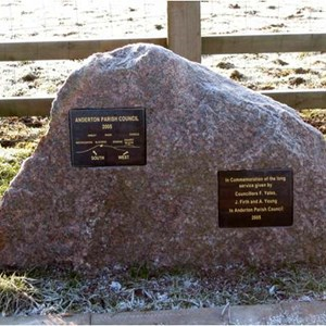 Commemorative plinth at the viewpoint