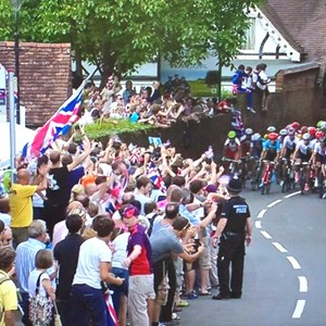 Olympic cycle race in Mickleham village (2012)