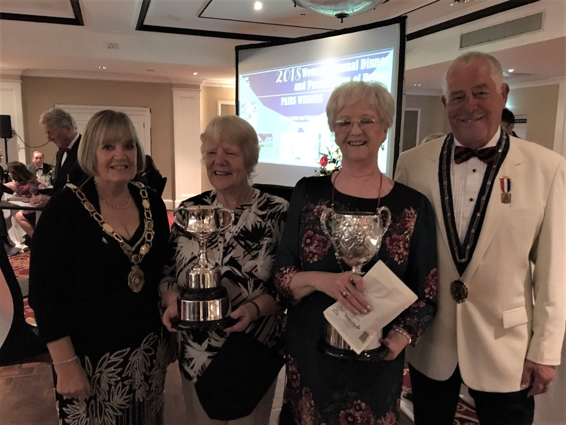 Tina Robinson Yorkshire Ladies President 2018, Sue Cotton & Di Jones National Ladies Pairs Champions, Bill Smith BE President 2018