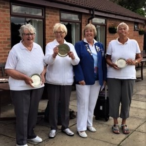 Benevolent Triples Runners Up, Mary Peake, Gill Godden, Brenda Watts.