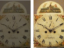 Dial face before and after restoration