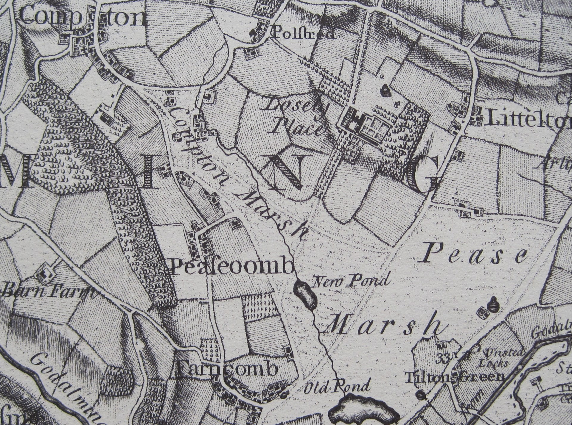 Extract from John Rocque's map of Surrey, c.1760.