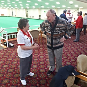 Councillor Alan Hills hearing all about what Daventry Indoor Bowls club is doing to promote Bowls in the Daventry Area.