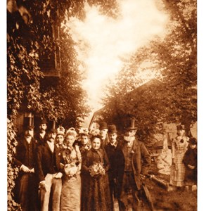 Wedding of Alice Child and W E Baxter in the temporary iron church, Mickleham. Sept 1891