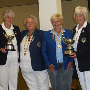 Receiving trophies September 2015: Betty Bell, Joy, Marcia (President of Bowls England), Annette
