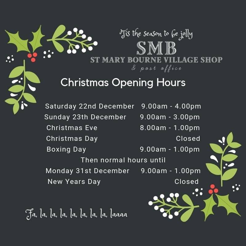 St Mary Bourne Parish Council Christmas opening hours