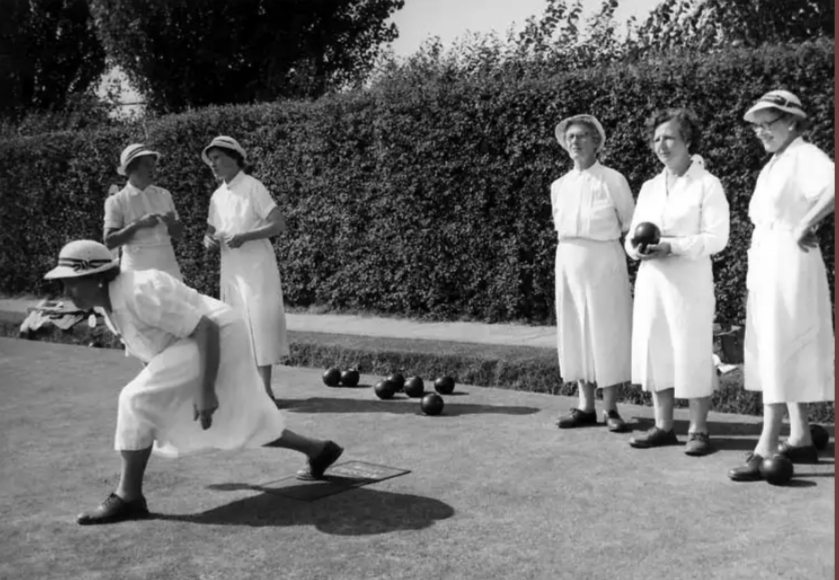 Sudbury Ladies Bowling Club early 1950's: Bowling is Mrs Carter and the two ladies on the left are Mrs Brimlecombe and Mrs Watson.         Photograph  courtesy of Sudbury Museum Trust.