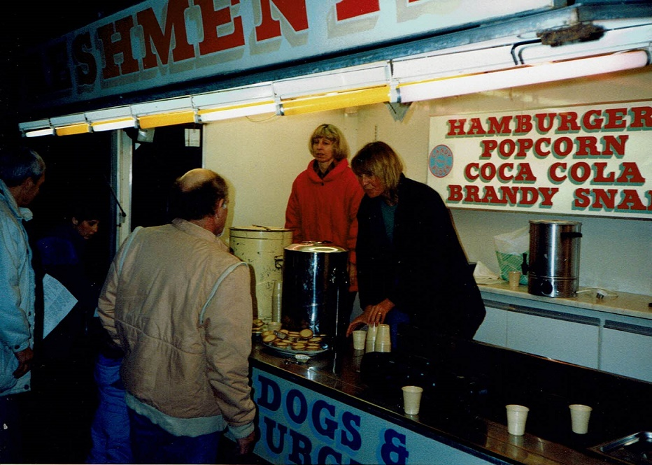 Marilyn and Sarah serve refreshments from a Danters Van