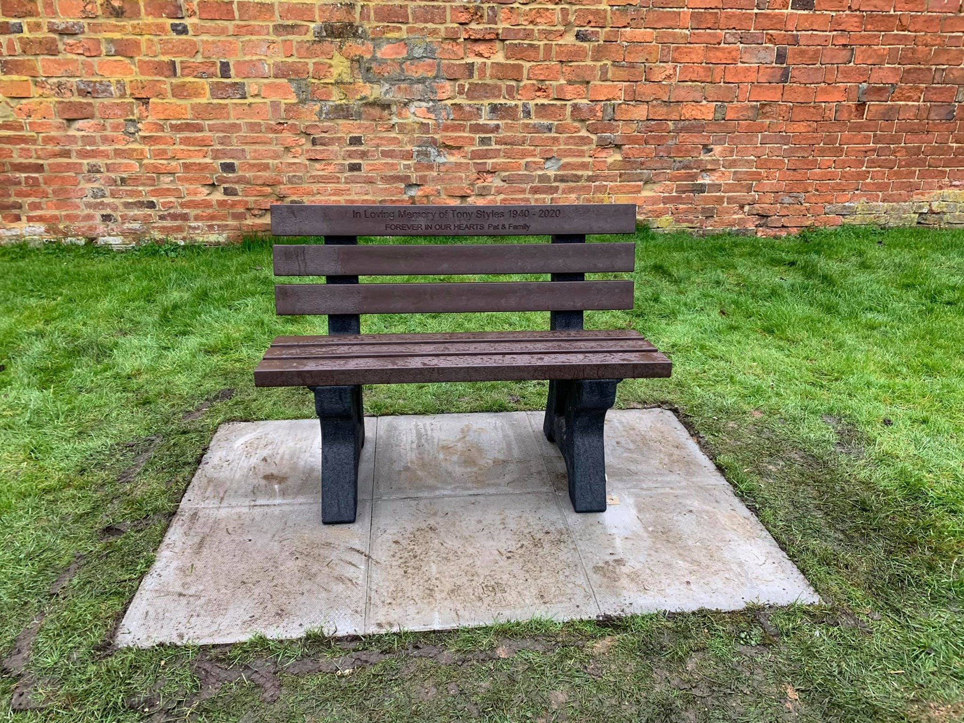 New bench seat in memory of Tony Styles, who contributed so much to the community, installed on the play area.