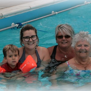 Mary Reid still using the pool at 84 years old with her daughter, Grandaughter & Great Grandson
