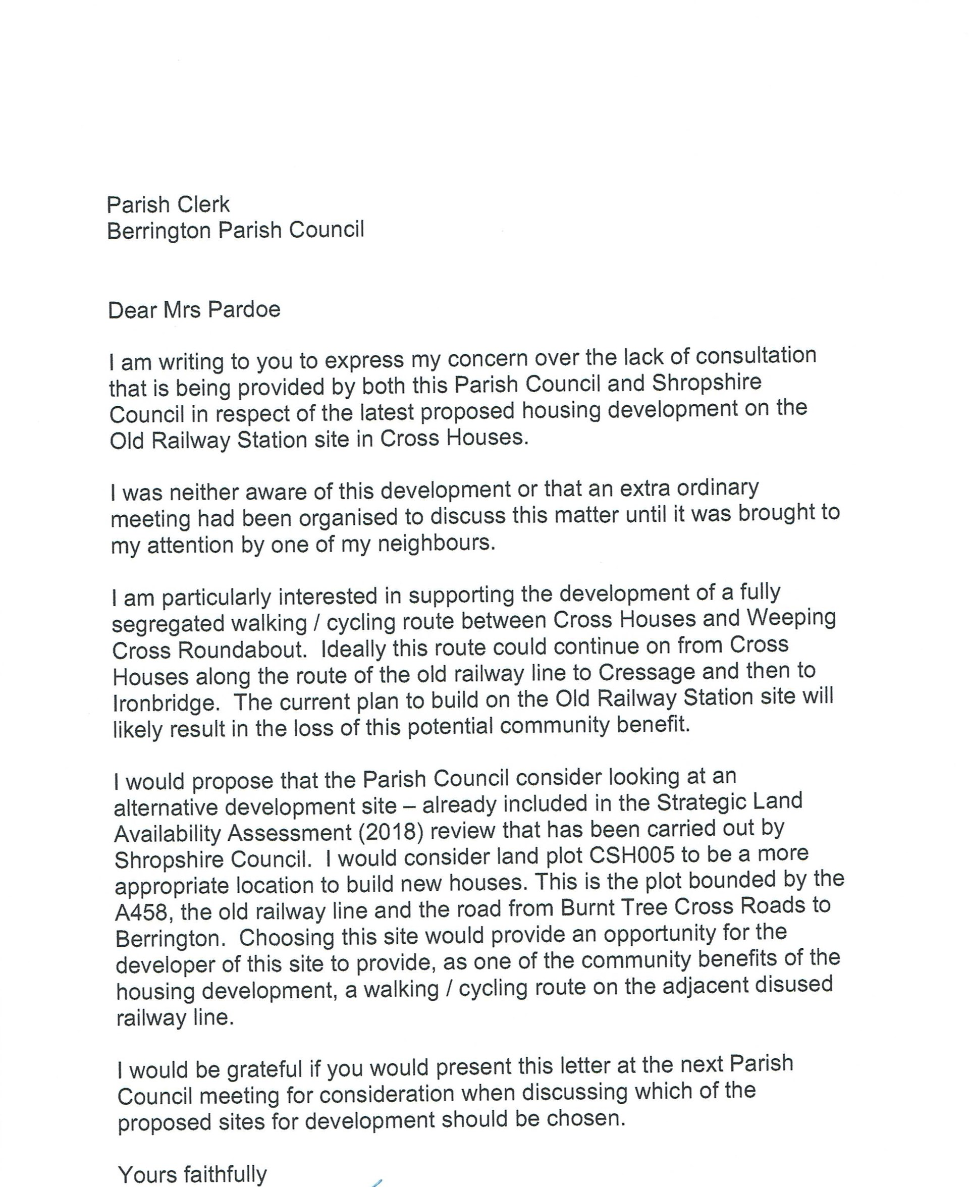 letter received from 20 residents concerning the selected site for Crosshouses