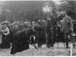 Mary Browne of South Collingham House, organiser of the Working Parties, planting a tree 1911