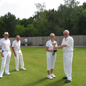 Club Triples Winners 2016. Rod Dale, Peter Martin and Carolyn Parker. Presenting the Cup Club Captain Trevor Norman